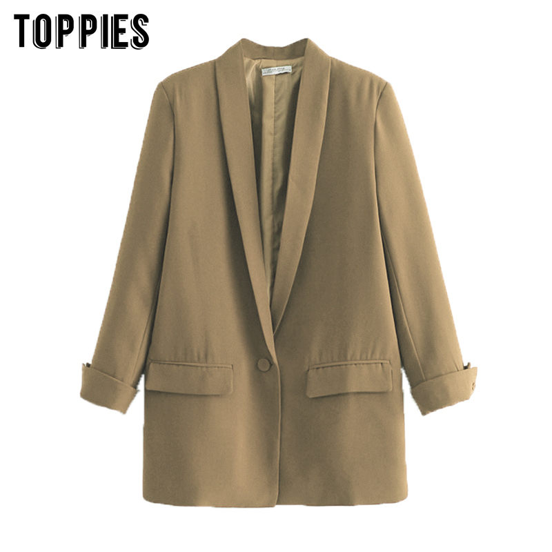 2020 Women Solid Color Long Blazer Jacket Pleated Sleeve Loose Coat Office Lady Work Style Small Suit Single Button Blazer