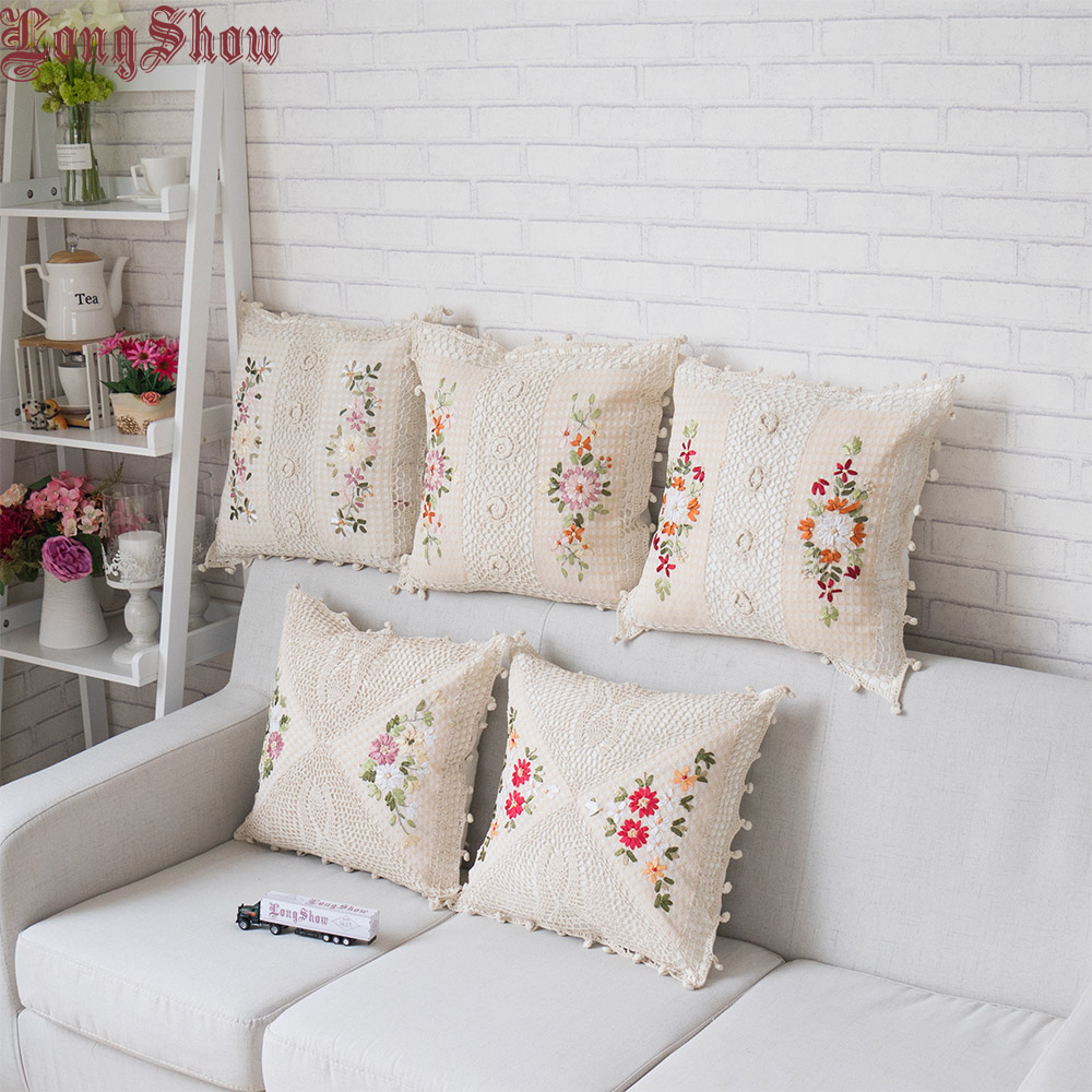 45x45cm Square Home Decorative Handmade Crocheted Ribbons Embroidery Beige Color Cotton Fabric Floral Pillow Case