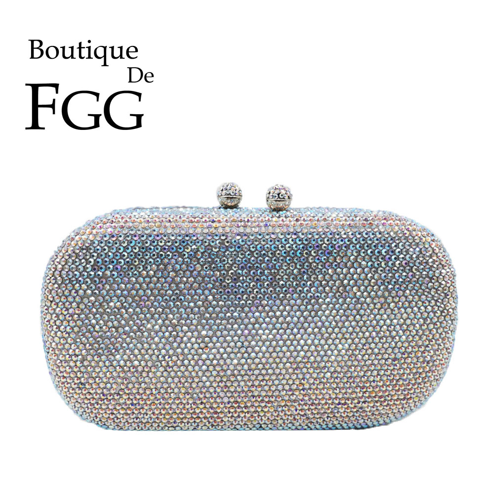 Boutique De FGG Dazzling Silver AB Crystal Clutch Purses For Women Evening Bags Wedding Formal Dinner Bridal DIamond Handbags