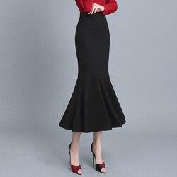 Длинная черная юбка-Русалка, Женская облегающая юбка с высокой талией, юбка-труба с рыбьим хвостом, одежда длиной до щиколотки, Женская офис...