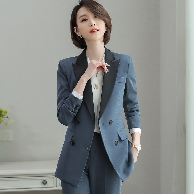 Professional Wear Women's Suit Medium And Long Double-breasted High Quality Work Blazer Slim Trouser Suit Women's Two-piece 2019