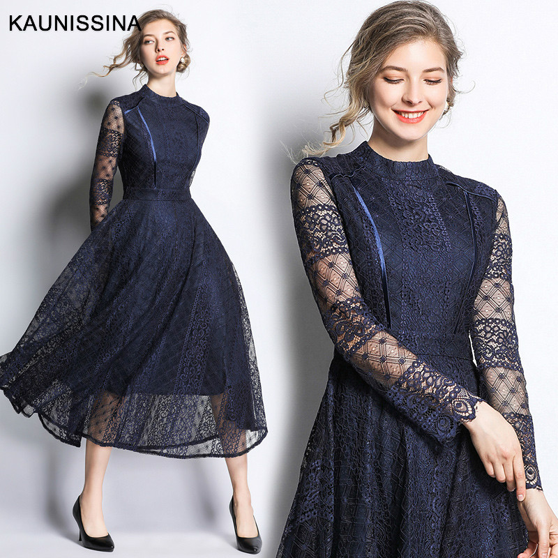KAUNISSINA Autumn Lace   Cocktail   Dressd Long Sleeve A Line Party Gown Ladies Elegant Robe   Cocktail   Long Homecoming   Dresses