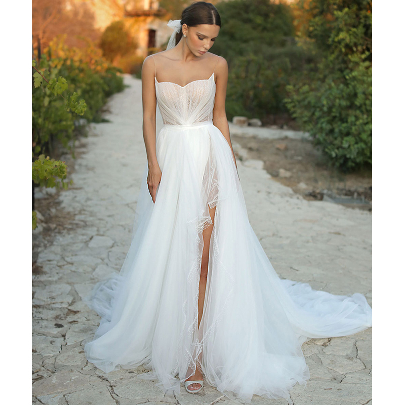 Verngo A Line Wedding Dress Boho 2020 Weeding Dresses Elegant Backless Wedding Gowns Sexy Side Slit Bride Dress Trouwjurk