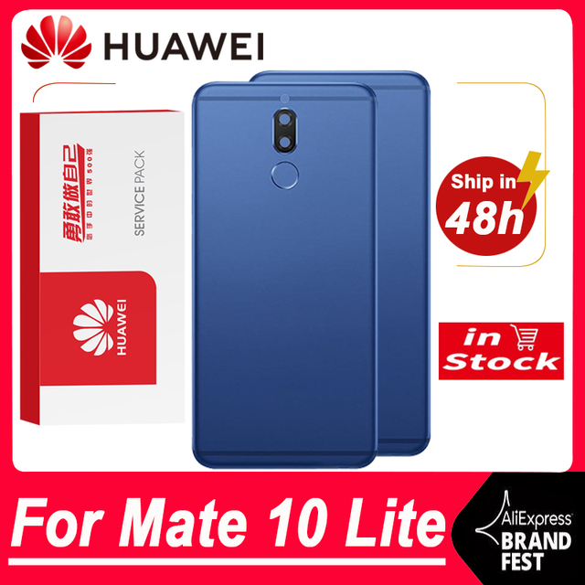 באיכות גבוהה חזרה החלפת דיור עבור Huawei Mate 10 Lite סוללה זכוכית עם מצלמה עדשה עבור נובה 2i אחורי כיסוי