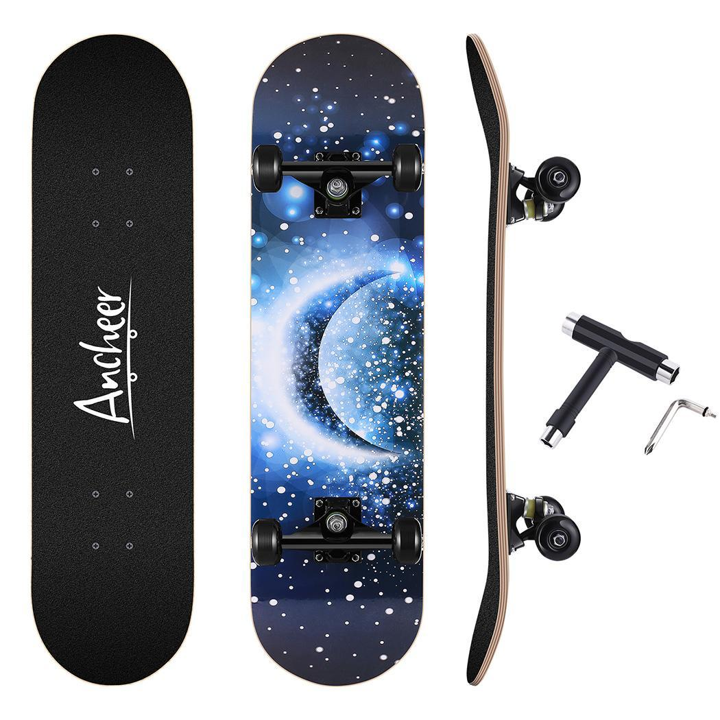 Skateboard Maple 4 Wheels Double Rocker Board Teenager Adult Figure Skating Street 3 Colors Double Up Board Red Colors Frosted 2