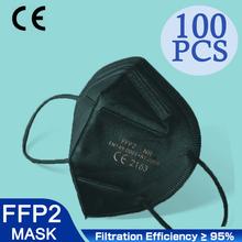 Hoge Kwaliteit 5 Lagen FFP2 Zwart Stofmasker Veiligheid Respirator Beschermende KN95 Masker Gezicht KN95Masks Filter Stofdicht Herbruikbare FPP2 cheap POWECOM China Vasteland En 149-2001 + A1-2009 Non-woven KN95 KN95MASK FPP2 FPP3
