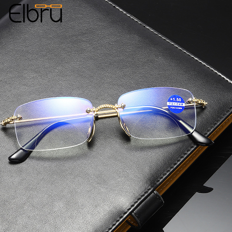 Elbru новый стиль очки для чтения без оправы анти-синий светильник Bifocals прогрессивные мульти-фокус пресбиопические очки Плоские линзы очки