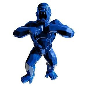 16''Animal Simulation King Kong goryl do kreatywnej dekoracji rzemiosło artystyczne urodziny prezent żywica akcja kolekcjonerski niebieski zabawkowy Model BOX