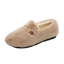 Winter Plus Velvet Shoes Women Fashion Flat Shallow Lamb Wool Ankle Boot Slip on Brown Casual Furry Snow Boot Woman(China)