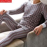 Soutong 2019 Winter Cotton Men Warm Thermal Underwear Men Long Johns Thermal Underwear Thick Plus Velvet Long Johns Sets