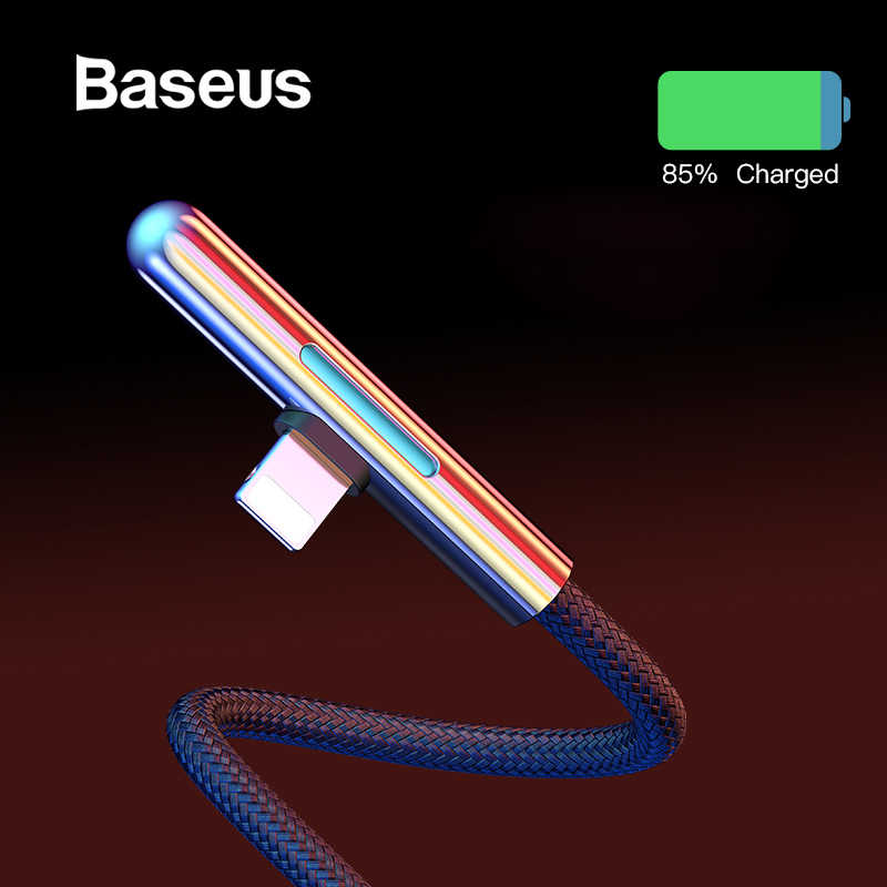 Baseus LED Cable USB for iPhone XR 2.4A Fast Charging for iPhone 11 Pro 8 XS Max USB Cable Elbow Colorful Light Cabo USB Wire 2m
