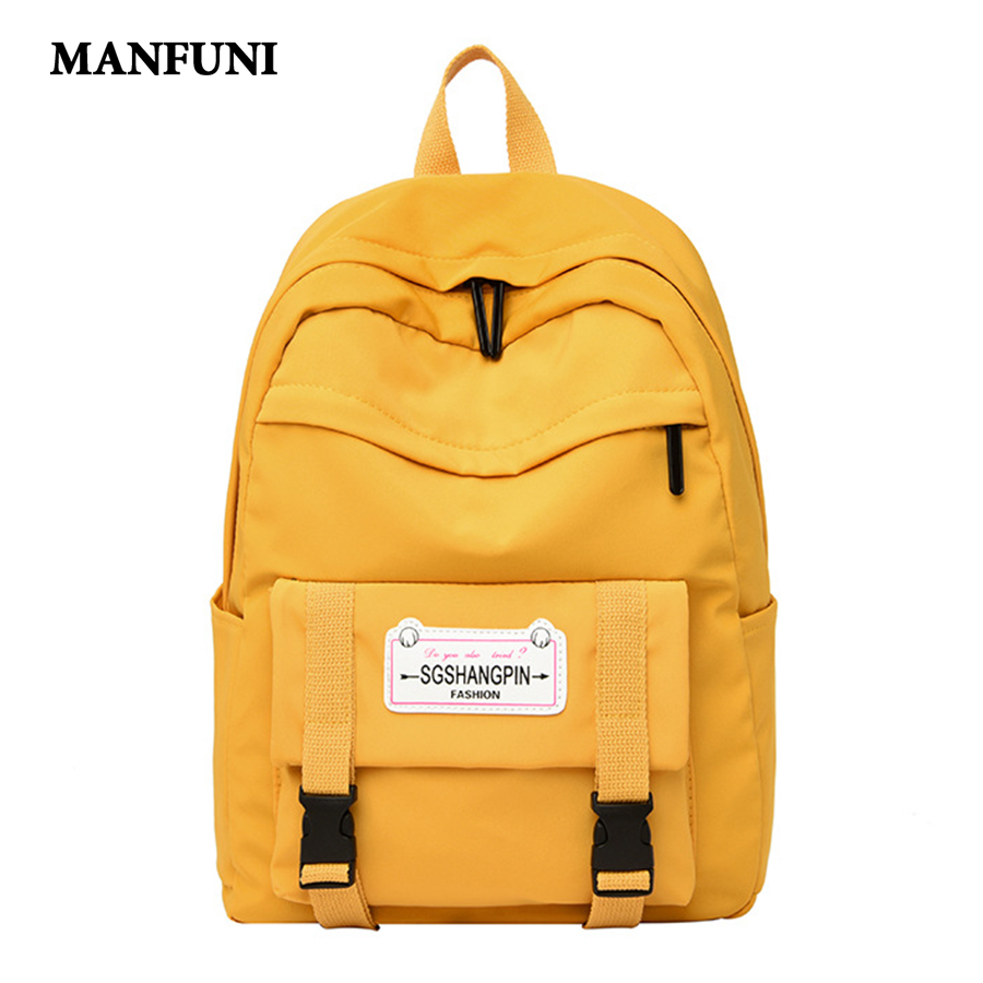 2020 New Fashion Waterproof Women Backpack Solid Color Teenage Girl College School Bag Casual Travel Bag Large Capacity Bookbags