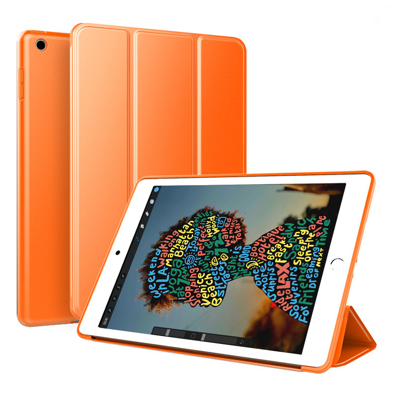 Orange Orange Trifold Leather Smart Case for iPad 10 2 7th generation 2019 Slim Translucent PC Back Cover