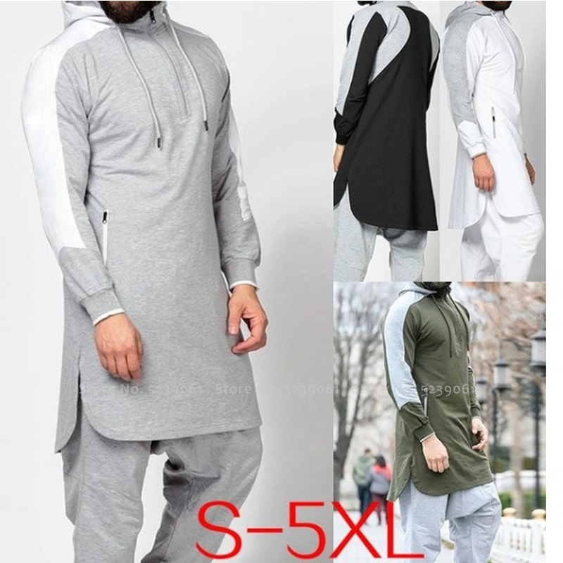 Muslim Men Jubba Thobe Arabic Islamic Pakistan Dubai Kaftan Sports Fitness Gym Long Sleeve Top Saudi Hooded Sweatshirt Jogging