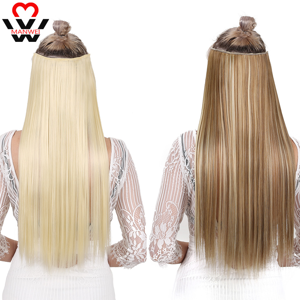 MANWEI  Clip In Hair Extensions Black Brown Natural Straight 60cm Long High Tempreture Synthetic Hair Extension Hairpiece