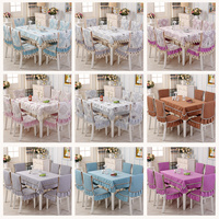 Europe Lace Floral embroidery Tablecloth For Wedding Table Cloth tea tablecloths 1PCS tablecloth 6PCS chair cover bundle sale