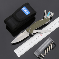 Sanrenmu 7116 Außen EDC Tasche Messer mit Multi Funktionales Werkzeug Sah Gürtel Cutter Glas Breaker Schraubendreher Bit und Nylon Mantel