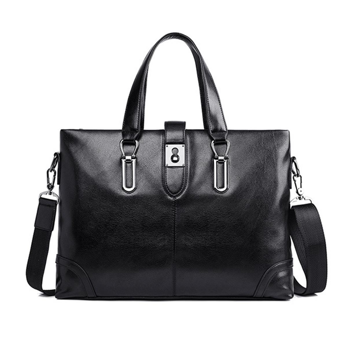 Men Black PU Leather Briefcase Shoulder Messenger Laptop Business Satchel Bag