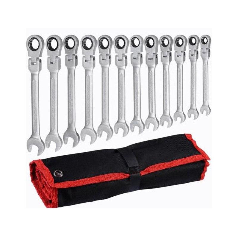 Juego de llaves métricas de combinación de trinquete, anillo de engranaje de diente fino y juego de llaves de tubo, herramientas de tuerca para reparar un juego de llaves