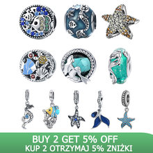 BISAER livraison directe 925 en argent Sterling queue de sirène étoile de mer poisson Tropical perles breloques ajustement Bracelets porte-bonheur argent 925 bijoux