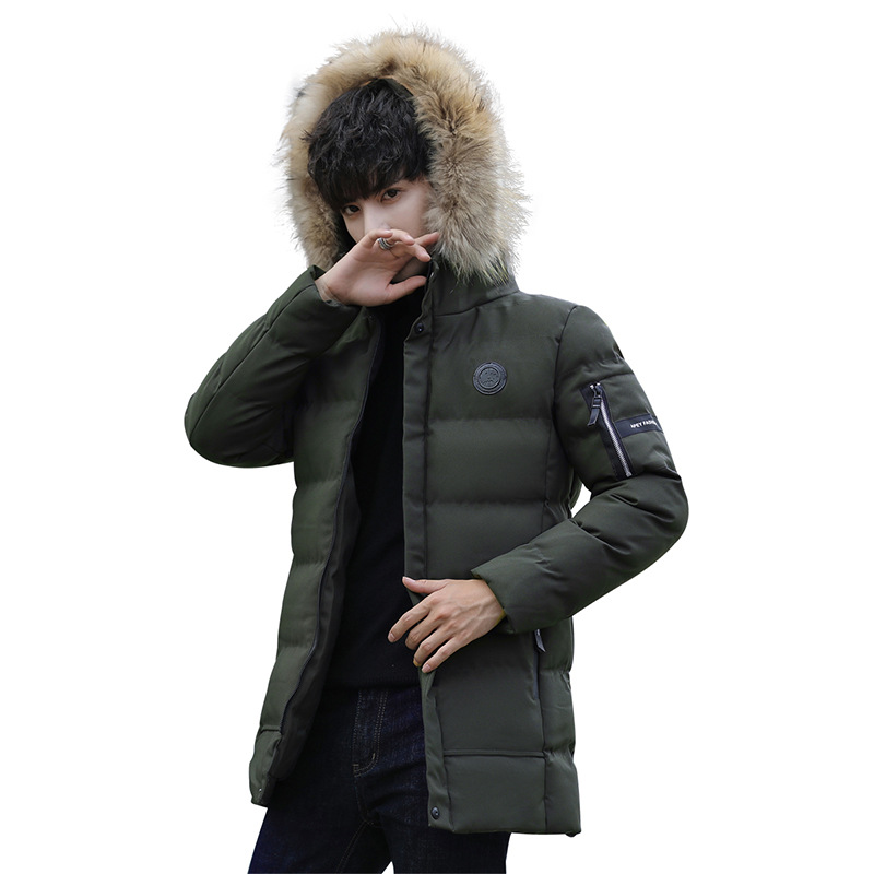 Mens Warm Fur Hooded Parka Winter Thicken Down Coat Jacket  Long Outdoor Fashion