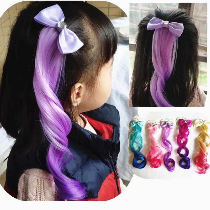 Hair Accessories Gradient Colorful Bowtie Hair Clips For Girls Rainbow Glitter Wings Hair Bows Princess Kids Long Wig Hairpins