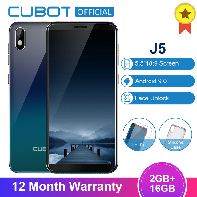 Cubot J5 5.5 אינץ אנדרואיד 9.0 18:9 מלא מסך Smartphone 2GB 16GB MT6580 Quad Core 2800mAh פנים מזהה נייד טלפון