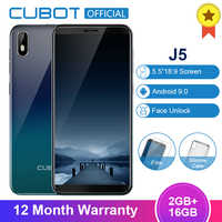 Cubot J5 5.5 Inch Android 9.0 18:9 Full Screen Smartphone 2GB 16GB MT6580 Quad-Core 2800mAh Face ID Mobile Phone