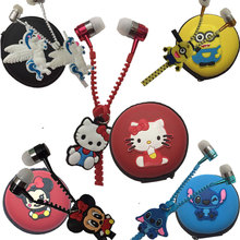 2019 new3.5 mm Wired zipper In-Ear Headset Cartoon Cat/Despicable me Earpiece MP3 Headphone For iphone 6 6s 7s Samsung X