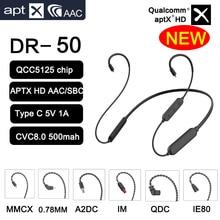 New QCC5125 APT X Adaptive HiFi Earphone 0.78 pin/MMCX UE/QDC A2DC/IE80 IE40 500mAh Wireless Bluetooth 5.0 Battery Audio Cable