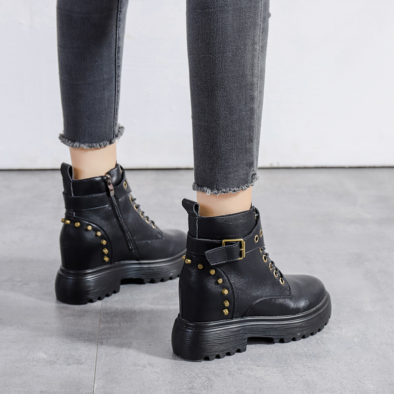 JXANG 2020 Spring boots, women's shoes, fashionable women's boots, thickened non-slip zippers, increased casual women's boots