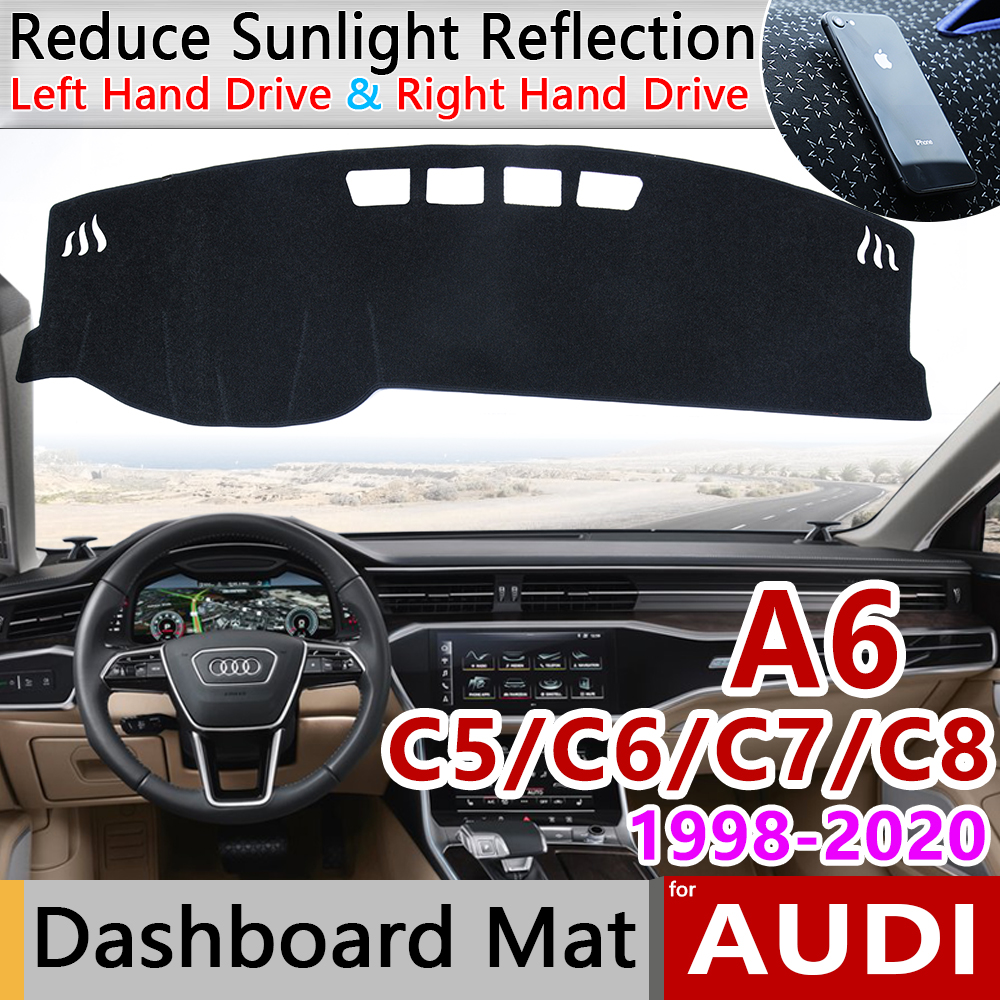 For Audi A6 C5 C6 C7 C8 4B 4F 4G 4K 1998~2020 Anti-Slip Mat Dashboard Cover Pad Sunshade Dashmat Carpet Car Accessories S-line