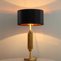 gold table lamp E27 black or white gold metal fabric shade E27 reading table light new design good quality