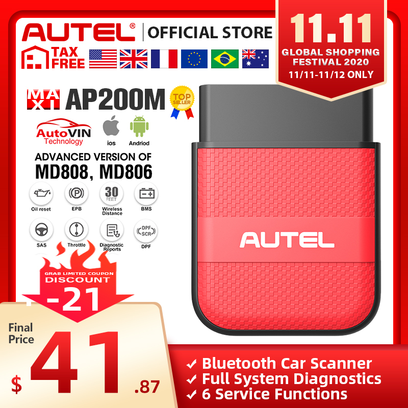 Autel AP200M OBD OBD2 Bluetooth Scanner Car Diagnostic Tool OBDII PK Thinkdiag Easydiag 3 0 MD802 AP200 CR319 obd 2 Diagnostic