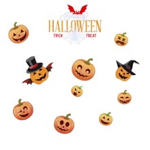 Static Window Sticker Cartoon Halloween Design No-Glue Self-adhesive Decals Car Clings Holiday Party Decorations H
