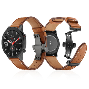 Image 1 - Butterfly clasp Leather Band for Xiaomi Huami Amazfit GTR 47mm 42mm Bracelet Strap for Huami Amazfit Bip lite/Stratos 2/Pace
