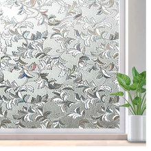 LUCKYYJ Window Film Privacy, Self-Adhesive 3D Decor Glass Door Window Covering, Removable Window Sticker, Static Cling Anti-UV