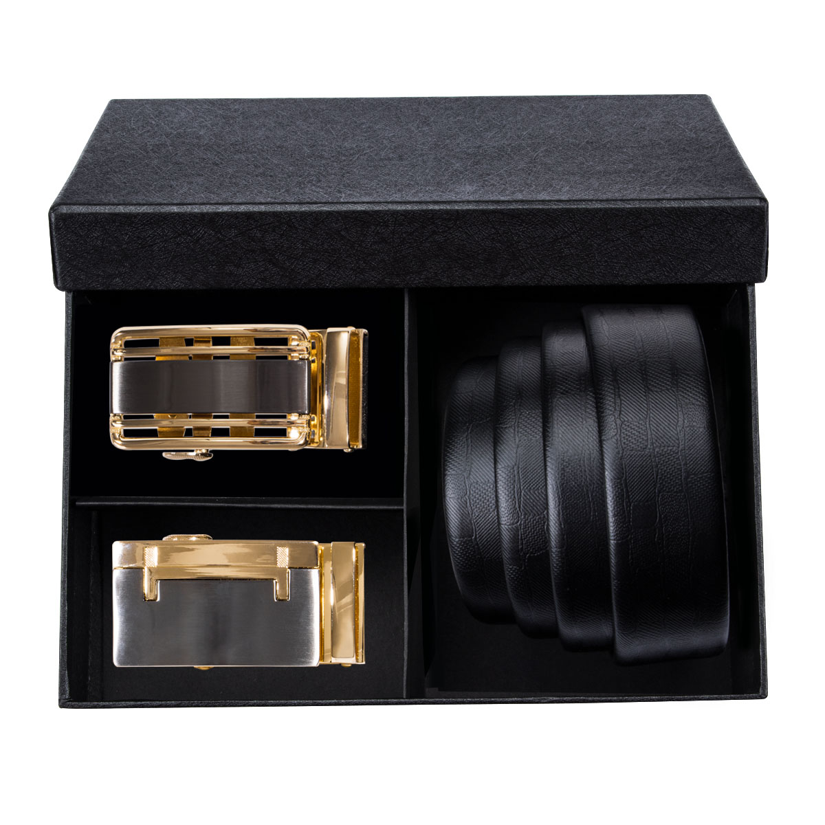 PB-01 Barry.Wang 2018 Best Recommends Mens Belts Sets Within Black Gift Box Genuine Leather Luxury Strap Male Belts For Men