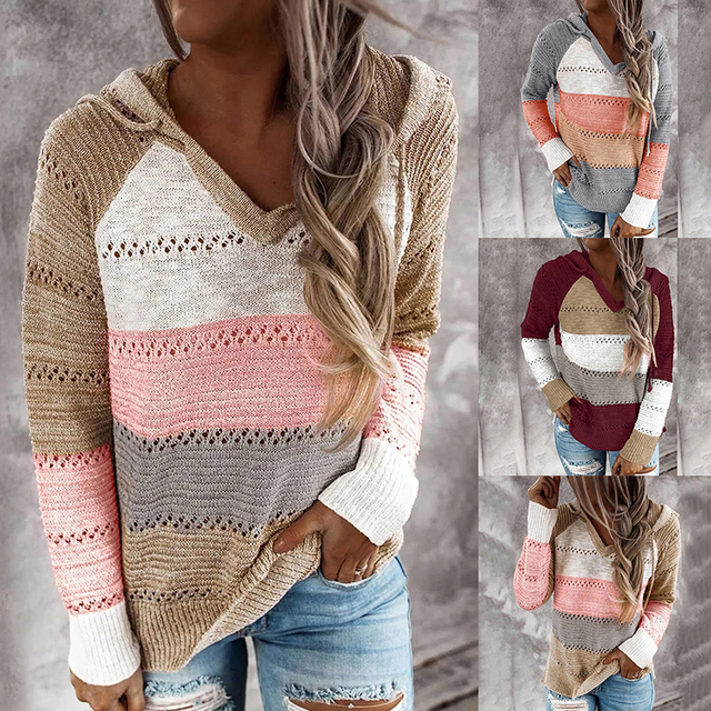 2020 Autumn V Neck Patchwork Hooded Sweater Women Casual Long Sleeve Knitted Sweater Top Winter Striped Elegant Pullover Jumpers