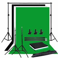 ZUOCHEN Kit de soporte de pantalla de fondo para estudio fotográfico Kit de soporte de 2M para pantalla verde y negra con llave cromada