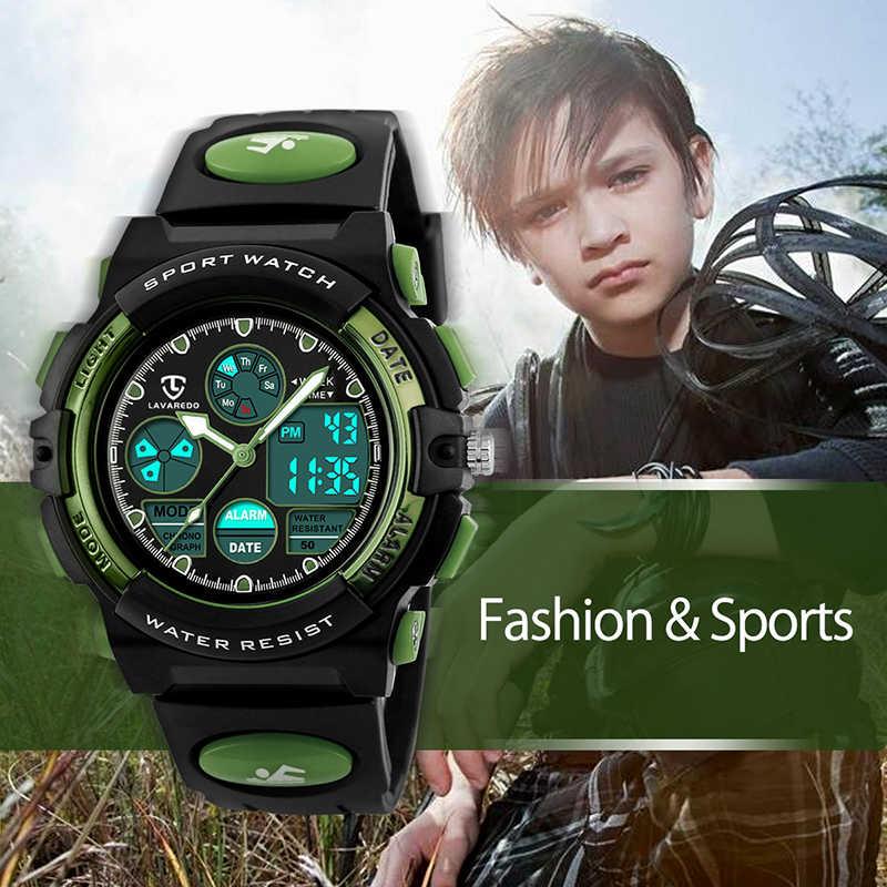 LAVAREDO แฟชั่นกีฬานาฬิกาควอตซ์ดิจิตอลนาฬิกาเด็ก 50M กันน้ำนาฬิกาข้อมือ A7