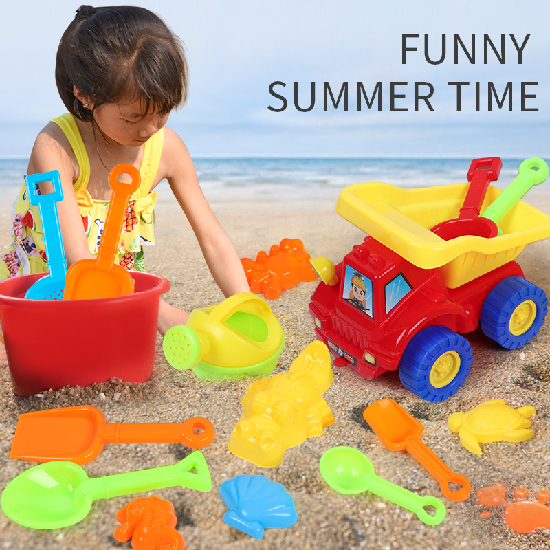 6pcs-14pcs Sets Sand Toys Beach Summer Play Children Dredging Shovel  Mold Kid Baby Outdoor Games Play Portable Toy With Car