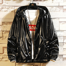 Glossy Jacket Men Fashion Solid Color Casual Hooded Coat Man Streetwear Wild Loose Hip Hop Bomber M-6XL