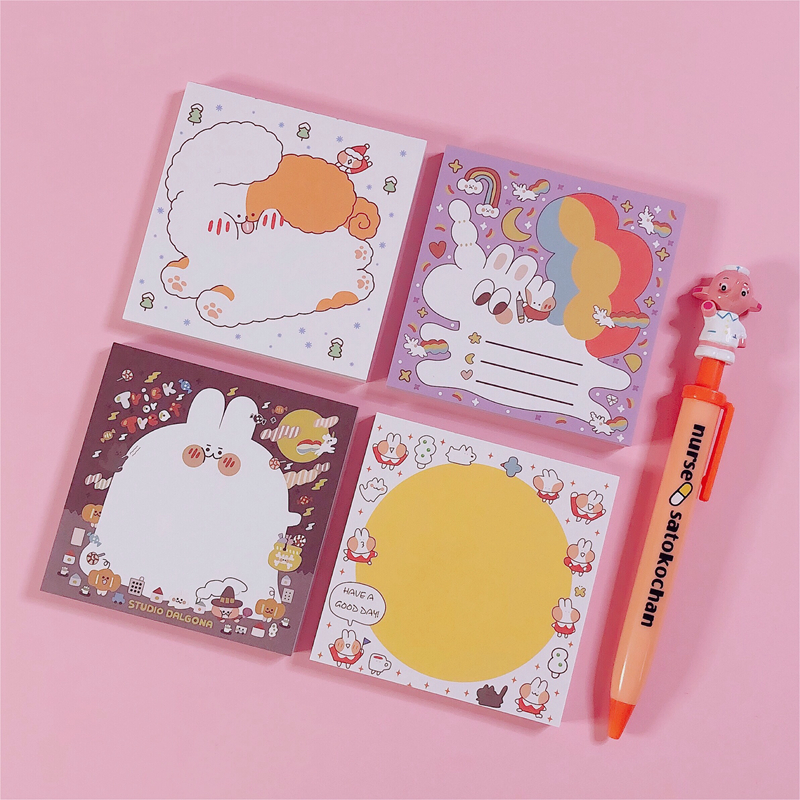 80Sheets/Lot Kawaii Korean INS Bread Rabbit Memo Pad N Times Sticky Notes Portable Notepad School Office Supply