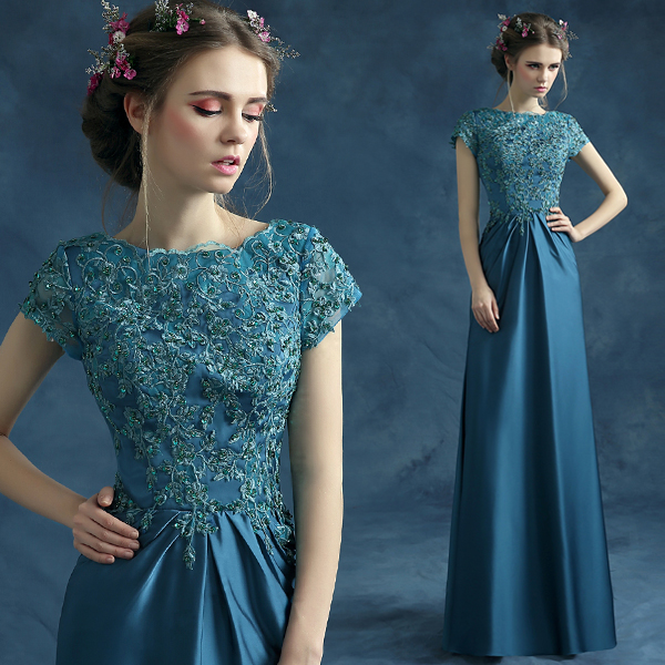 Short Sleeves Lace Appliques Beading Sheath 2015 New Hot Sexy Long Mother Of The Bride Dresses Free Shipping Vestido De Madrinha