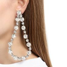 цена на Exaggerated CZ Water Drop Crystal Hanging Dangle Earrings For Women Female Bohemian Luxury Rhinestone Wedding Party Ear Jewelry