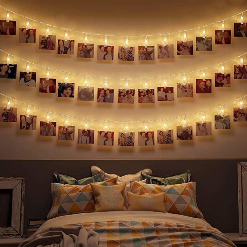 Creative Fairy Lights Battery Powered Painting Pictures Card Party Photo Clip 10/20 LED Hanging Photos Lamp Wall Xmas Decoration