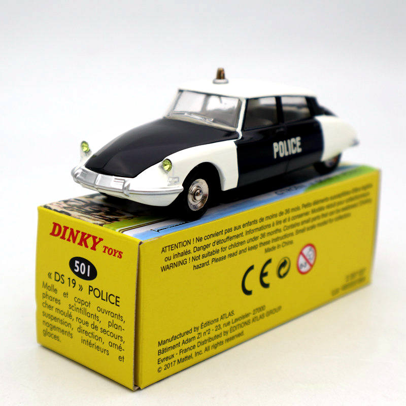 Atlas 1/43 Dinky Toys 501 Citroen DS 19 Police Models Diecast Collection Auto Car Gift MiniatureDiecasts & Toy Vehicles   -