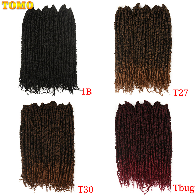 TOMO Bomb Twist Crochet Hair Synthetic 16Roots Spring Twist Pre Looped Crochet Braids Hair Extension Passion Twist for Women 5