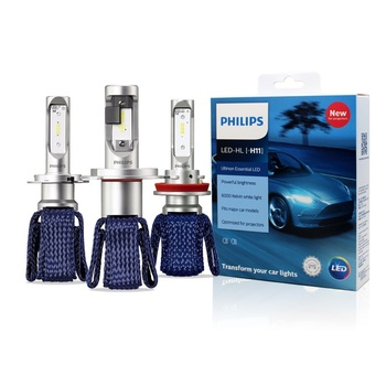 Philips LED H4 H7 H8 H11 H16 9005 9006 9012 HB3 HB4 H1R2 Ultinon Essential LED Car 6000K White Headlight Auto Bulbs Fog Lamps 2X